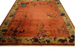 Piękny półantyczny dywan Chiński Peking Old wart ok 40 000zł 300x350cm aubusson lśniący