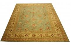 Zielony oryginalny ręcznie tkany dywan Ziegler Farahan z Pakistanu 100% wełna ok 269x324cm ekskluzywny