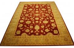 Czerwony oryginalny ręcznie tkany dywan Ziegler z Pakistanu 100% wełna ok 250x350cm ekskluzywny
