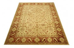 Beżowy z czerwonym akcentem luksusowy ręcznie tkany dywan Ziegler ok 200x300cm Pakistan 100% wełna