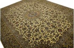 Wielki luksusowy dywan Kashan (Keszan) z Iranu 100% wełna 3x4m tradycyjny perski oryginał beżowy