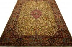 Wielki luksusowy dywan Kashan (Keszan) Old z Iranu 100% wełna 3x4m tradycyjny perski oryginał beżowy pólantyczny