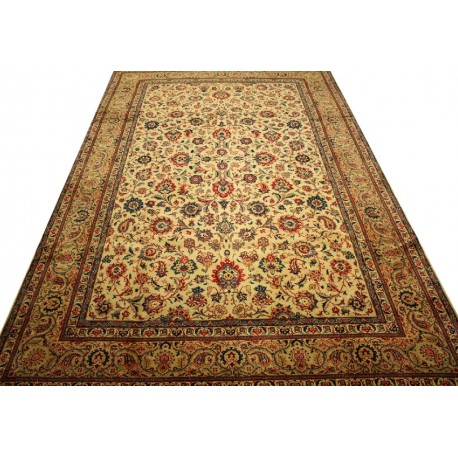 Wielki luksusowy dywan Kashan (Keszan) Old z Iranu 100% wełna 280x340cm tradycyjny perski oryginał pólantyczny
