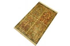 Indyjski dywan ręcznie tkany Kaszmir z czytego jedwabiu 95x65cm Jedwab naturalny kwatery