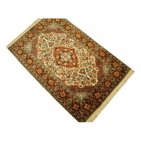 Indyjski dywan ręcznie tkany Kaszmir z czytego jedwabiu 77x124cm Jedwab naturalny z medalionem