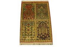 Indyjski dywan ręcznie tkany Kaszmir z czytego jedwabiu 60x90cm Jedwab naturalny kwatery