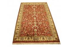 Indyjski dywan ręcznie tkany Kaszmir z czytego jedwabiu 77x124cm Jedwab naturalny klasyczny czerwony