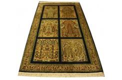 Indyjski dywan ręcznie tkany Kaszmir z czytego jedwabiu 83x113cm Jedwab naturalny kwatery