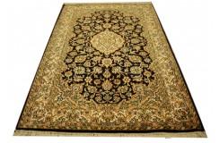 Czarny luksusowy dywan Kashmir z Indii 100% czysty jedwab ręcznie tkany 80x128cm
