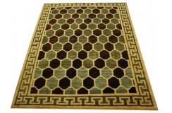 Beżowo-niebieski gustowny nietypowy dywan Ziegler Pakistan ręcznie tkany 207x261cm