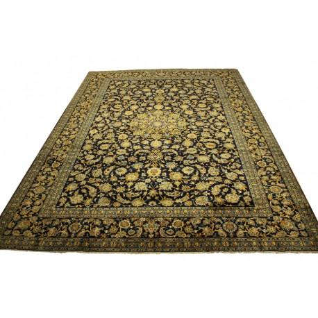 Wielki tradycyjny dywan Kashan (Keszan) z Iranu 100% wełna 311x418cm perski granatowy