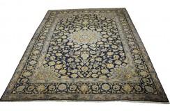 Wielki tradycyjny dywan Kashan (Keszan) z Iranu 100% wełna 300x400cm perski granatowy wart 28 980zł