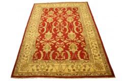 Dwukolorowy czerwony oryginalny ręcznie tkany dywan Ziegler Farahan z Pakistanu 100% wełna ok 190x260cm ekskluzywny