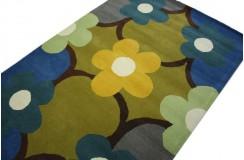 Nowoczesny wełniany dywan Flowers z Indii ręcznie taftowany 150x240cm kolorowe kwiaty