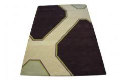 Nowoczesny wełniany dywan Lines z Indii ręcznie taftowany 150x240cm kolorowy geometryczny abstrakcyjny
