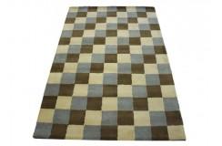 Nowoczesny wełniany dywan Multisquare z Indii ręcznie taftowany 150x240cm kolorowy geometryczny abstrakcyjny