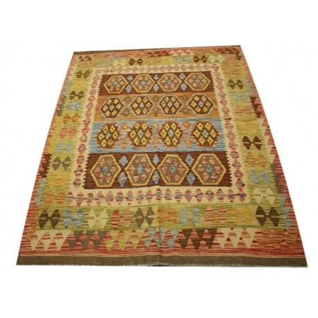 Kaudani ETNICZNY dywan kilim z Afganistanu 100% wełna VINTAGE 150x200cm pastelowe kolory