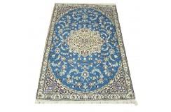 Nain 9la Habibian gęsto ręcznie tkany dywan z Iranu wełna + jedwab ok 90x130cm niebieski