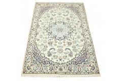Nain 9la Habibian gęsto ręcznie tkany dywan z Iranu wełna + jedwab 100x150cm beżowy