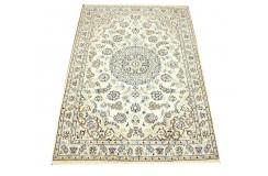 Nain 9la Habibian gęsto ręcznie tkany dywan z Iranu wełna + jedwab 97x145cm beżowy