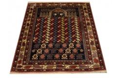Ręcznie tkany antyczny nowy dywan afgański ekskluzywny gęsto tkany 130x145cm wełna ok 1950r. modlitewnik