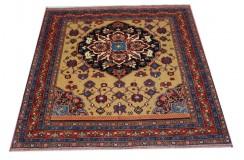 Ręcznie tkany antyczny nowy dywan afgański ekskluzywny gęsto tkany 117x127cm wełna ok 1950r. z medalionem