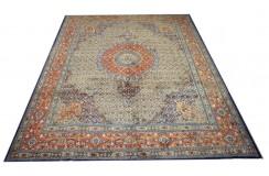 Ręcznie tkany eksklzywny dywan Mud Sherkat Farsh 250x340cm piękny perski z medalionem wełna i jedwab