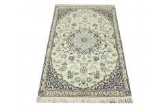 Nain 9la Habibian gęsto ręcznie tkany dywan z Iranu wełna + jedwab 88x140cm beżowy