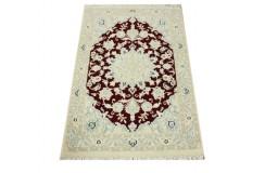 Nain 9la Habibian gęsto ręcznie tkany dywan z Iranu wełna + jedwab 60x90cm czerwony