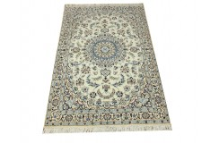 Nain 9la Habibian gęsto ręcznie tkany dywan z Iranu wełna + jedwab 114x182cm beżowy