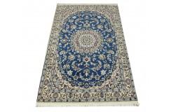 Nain 9la Habibian gęsto ręcznie tkany dywan z Iranu wełna + jedwab 106x180cm niebieski