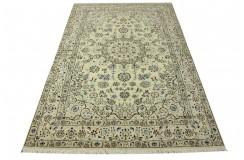 Nain 9la Habibian gęsto ręcznie tkany dywan z Iranu wełna + jedwab 155x244cm beżowy