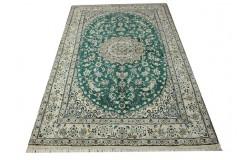 Nain 9la Habibian gęsto ręcznie tkany dywan z Iranu wełna + jedwab 156x255cm zielony