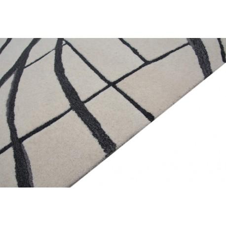 Beżowy dywan z szarym akcentem abstrakcyjnym 100% wełna  250x300cm Indie