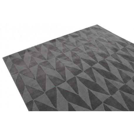 Antracyt/szary gładki dywan wełniany z Indii 240x300cm dwupoziomowe wzory