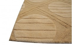 Żółty nowoczesny dywan wełniany 240x300cm ręcznie tkany z Indii 2cm gruby koła