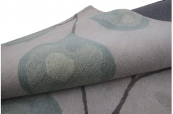 Nowoczesny 100% wełniany dywan indyjski 240x300cm beżowy z zielonymi kwiatami