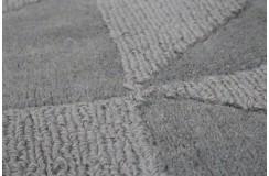 Szary z nutą zieleni  tani dywan wełniany z Indii wielki 240x300cm dwupoziomowy ręcznie tkany