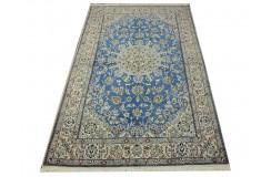 Nain 9la Habibian gęsto ręcznie tkany dywan z Iranu wełna + jedwab 150x245cm niebieski
