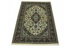 Beżowo niebieski oryginalny dywan Kashan (Keszan) antyczny z Iranu 100% wełna 112x160cm perski