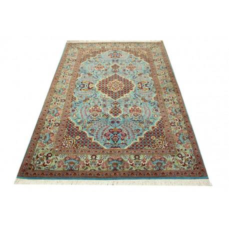 Niebieski oryginalny dywan Kashan (Keszan) półantyczny z Iranu wełna i jedwab 140x223cm perski