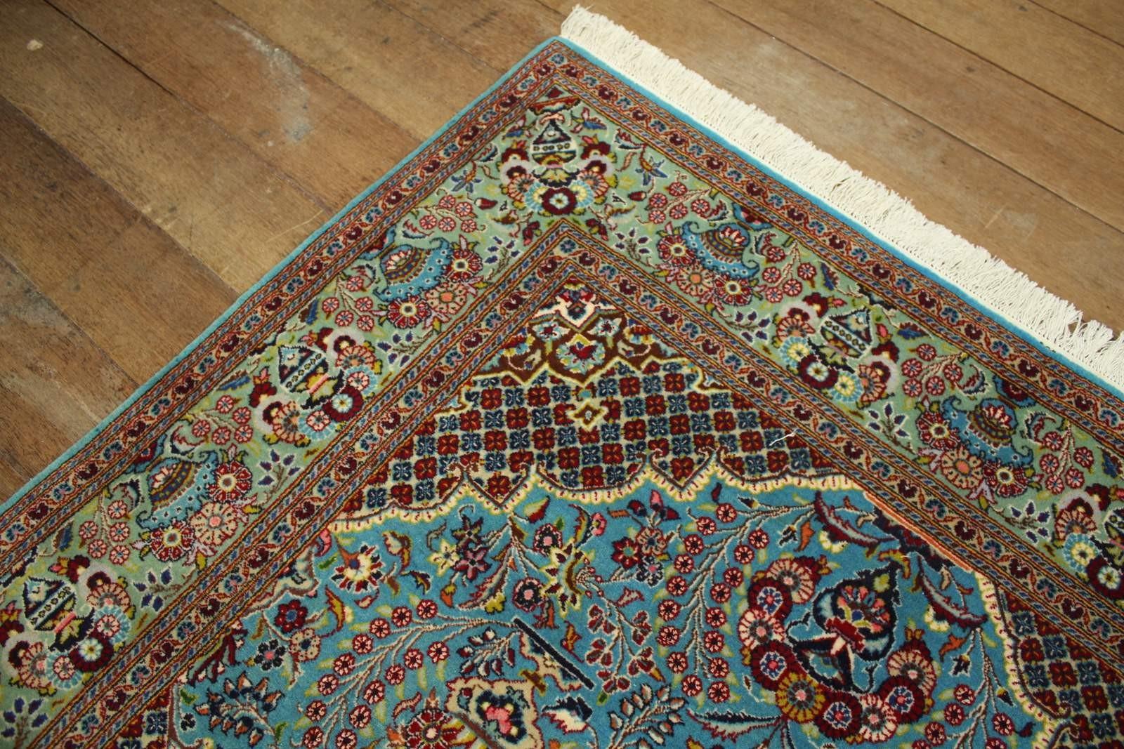 Perski Dywan Keszan Z Iranu Wełna I Jedwab Ręcznie Tkany