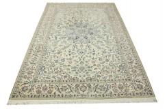 Nain 6la Habibian gęsto ręcznie tkany dywan z Iranu wełna + jedwab ok 155x240cm jasny beżowy majestatyczny z podpisem