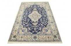 Nain 4la Habibian gęsto ręcznie tkany dywan z Iranu wełna + jedwab ok 130x206cm granatowy majestatyczny