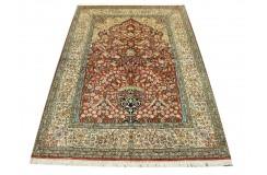Dywan Kaszmir (Kashmir) z naturalnego jedwabiu klasyczny 123x182cm Indie ręcznie tkany czerwony