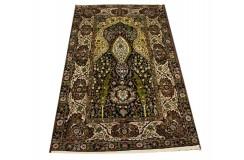 Dywan Kaszmir (Kashmir) z naturalnego jedwabiu klasyczny 98x152cm Indie ręcznie tkany mihrab - modlitewnik