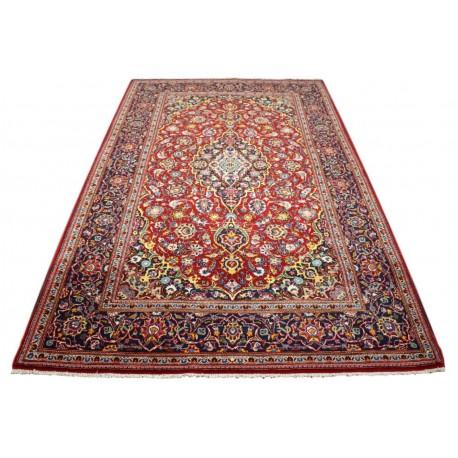 Czerwony oryginalny dywan Kashan (Keszan) półantyczny z Iranu wełna 141x205cm perski