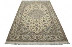 Nain 6la Habibian gęsto ręcznie tkany dywan z Iranu wełna + jedwab ok 149x243cm jasny beżowy majestatyczny z podpisem