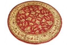 Czerwony tradycyjny ręcznie tkany dywan Ziegler Farahan z Pakistanu 100% wełna 200x200cm ekskluzywny okrągły
