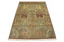 Dywan Kaszmir (Kashmir) z naturalnego jedwabiu klasyczny 120x180cm Indie ręcznie tkany w kwatery